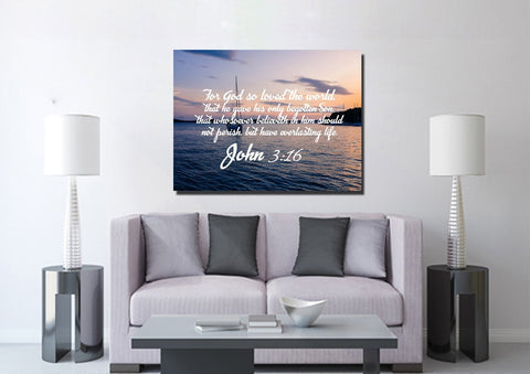 Image of John 3:16 KJV #5 Bible Verse Canvas Wall Art