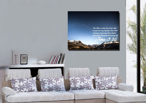 Image of John 3:16 KJV #7 Bible Verse Canvas Wall Art