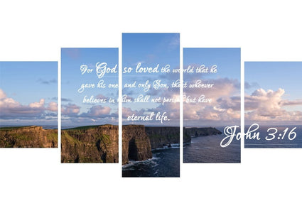 John 3:16 NIV #12 Bible Verse Canvas Wall Art
