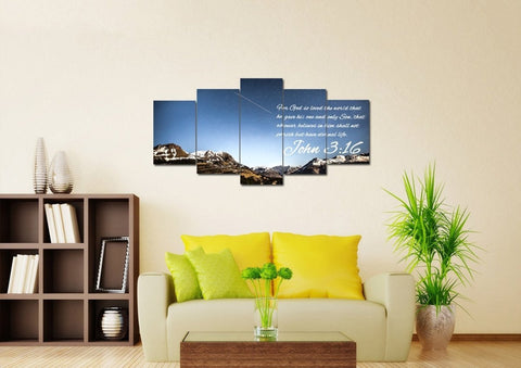 Image of John 3:16 NIV #7 Bible Verse Canvas Wall Art