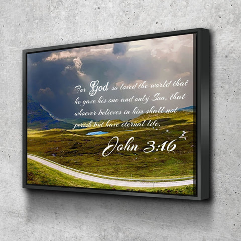 Image of John 3:16 NIV #9 Bible Verse Canvas Wall Art