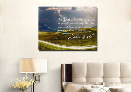 John 3:16 NIV #9 Bible Verse Canvas Wall Art