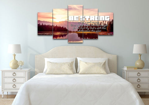 Joshua 1:9 KJV 'Be Strong' Bible Verse Canvas Wall Art