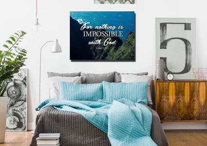 Luke 1:37 For Nothing is Impossible with God Bible Verse Wall Art Canvas
