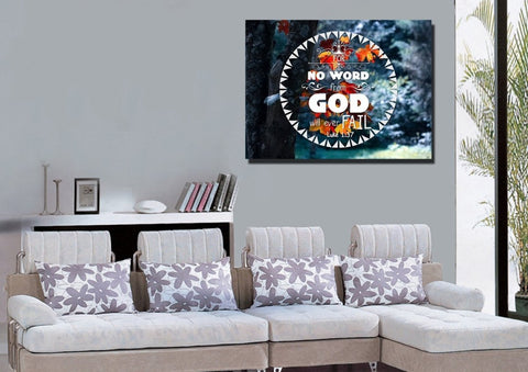 Luke 1:37 No Word from God will Ever Fail Bible Verse Canvas Wall Art
