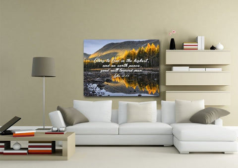 Luke 2:14 Glory to God in the Highest and on Earth Peace Bible Verse Canvas Wall Art