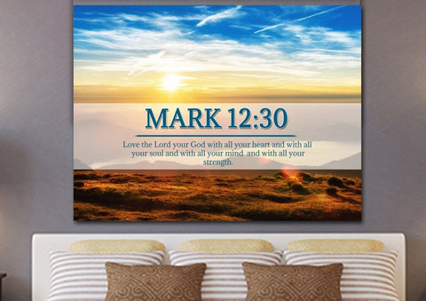 Mark 12:30 Love the Lord your God with all your Heart Bible Verse Canvas Wall Art