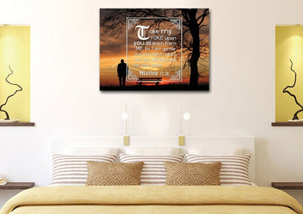 Matthew 11:29 Canvas Wall Art Print - Christian Walls