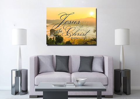 Image of Matthew 16:16 Jesus the Christ Canvas Wall Art Print - Christian Walls