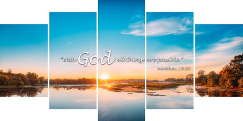 Matthew 19:26 With God All Things are Possible Bible Verse Canvas Wall Art