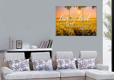 Matthew 22:37 Love the Lord your God with all your Heart and with all your Soul and with all your Mind Bible Verse Canvas Wall Art