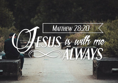 Image of Matthew 28:20 Jesus is with me Always Canvas Wall Art Print - Christian Walls