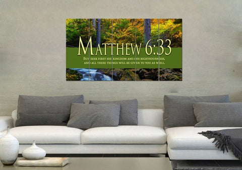 Matthew 6:33 But Seek first his Kingdom and his Righteousness Bible Verse Canvas Wall Art