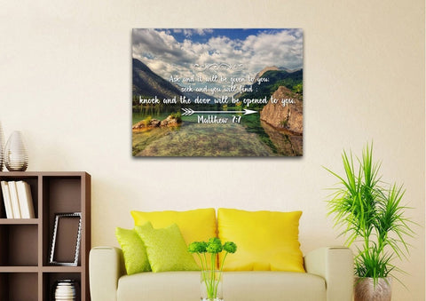 Matthew 7:7 Ask and it will be Given to you, Seek and you will Find Bible Verse Canvas Wall Art