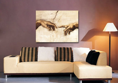 Michelangelo's Creation of Adam Canvas Wall Art