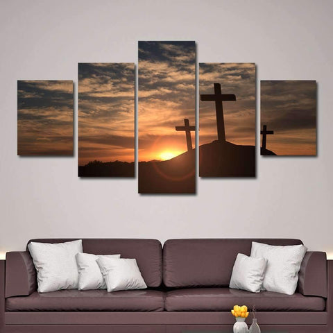 Mount Calvary Sunrise & Sunset - Christian Canvas Wall Art