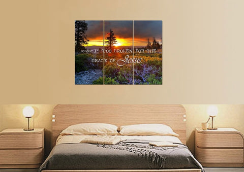 Nobody is Too Broken for the Grace of Jesus Christian Quotes Wall Art Canvas