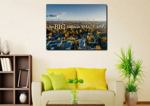 Image of Our Big Problems are Small to God Wall Art Canvas Print - Christian Walls
