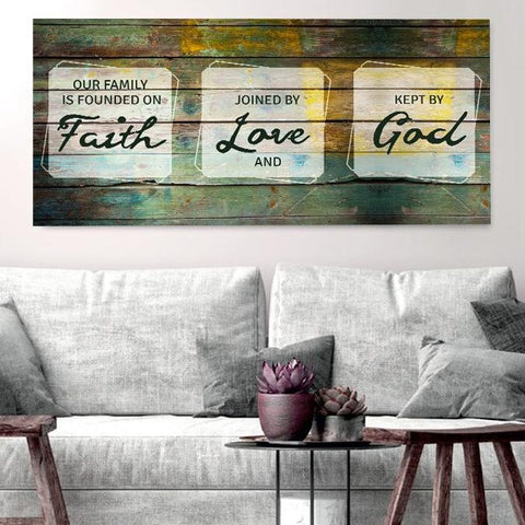 Image of Our Family is Founded on Faith - Christian Signs for Home