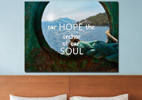 Our Hope the Anchor of Our Soul Christian Quotes Wall Art Canvas
