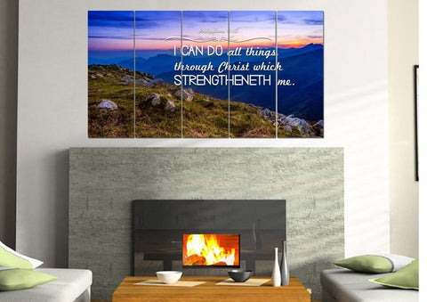 Philippians 4:13 KJV #3 Bible Verse Canvas Wall Art
