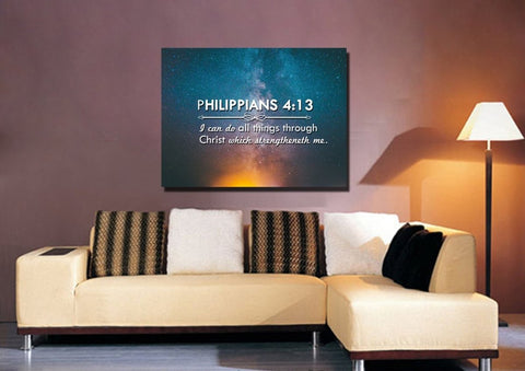 Image of Philippians 4:13 KJV #4 Bible Verse Canvas Wall Art
