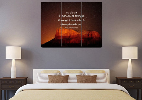 Philippians 4:13 KJV #5 Bible Verse Canvas Wall Art