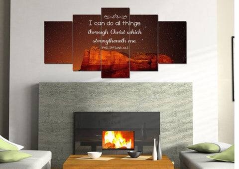 Image of Philippians 4:13 KJV #5 Bible Verse Canvas Wall Art