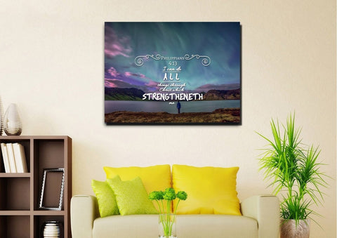 Image of Philippians 4:13 KJV #6 Bible Verse Canvas Wall Art