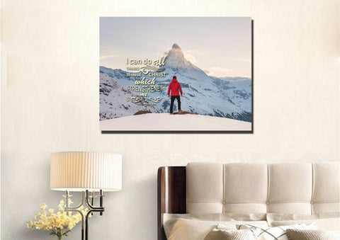 Philippians 4:13 KJV #9 Bible Verse Canvas Wall Art