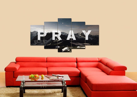 Image of Pray Christian Quote Wall Art Canvas