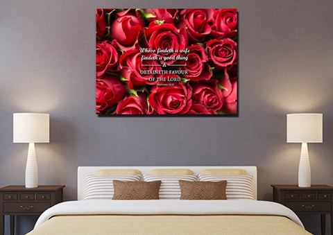 Image of Proverbs 18:22 Whoso findeth a wife findeth a good thing Bible Verse Wall Art Canvas