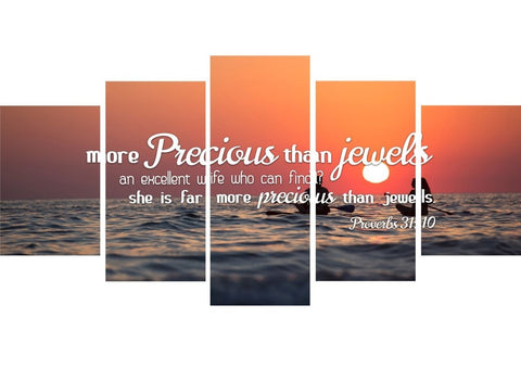 Image of Proverbs 31:10 She is More Precious than Jewels Canvas Wall Art Print - Christian Walls