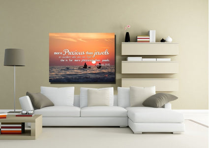 Proverbs 31:10 She is More Precious than Jewels Canvas Wall Art Print - Christian Walls
