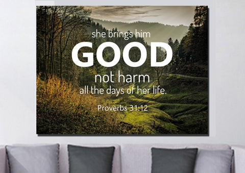 Proverbs 31:12 'She Brings him Good' Canvas Wall Art Print - Christian Walls