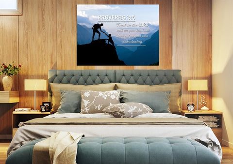 Image of Proverbs 3:5 #1 NIV Trust in the Lord Bible Verse Wall Art Canvas