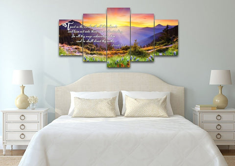 Image of Proverbs 3:5-6 #1 KJV 'Trust in the Lord' Christian Scripture Wall Art Canvas