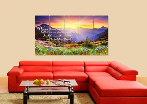 Proverbs 3:5-6 #1 KJV 'Trust in the Lord' Christian Scripture Wall Art Canvas