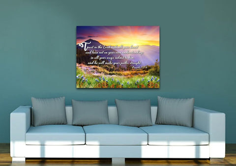 Proverbs 3:5-6 #1 NIV Trust in the Lord Christian Scripture Wall Art Canvas