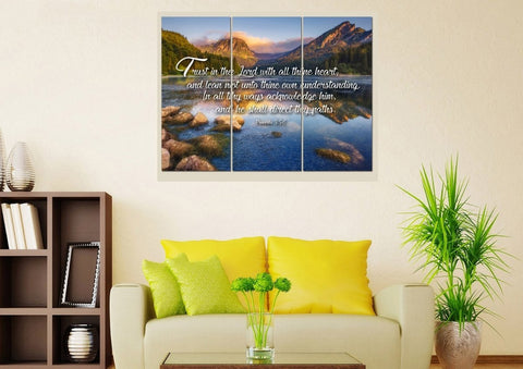 Proverbs 3:5-6 #11 KJV 'Trust in the Lord' Christian Scripture Wall Art Canvas