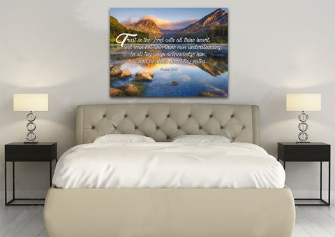 Image of Proverbs 3:5-6 #11 KJV 'Trust in the Lord' Christian Scripture Wall Art Canvas
