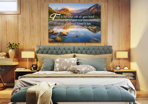 Image of Proverbs 3:5-6 #11 NIV Trust in the Lord Bible Verse Canvas Wall Art