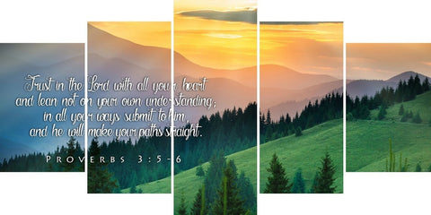 Proverbs 3:5-6 #13 NIV Trust in the Lord Bible Verse Canvas Wall Art