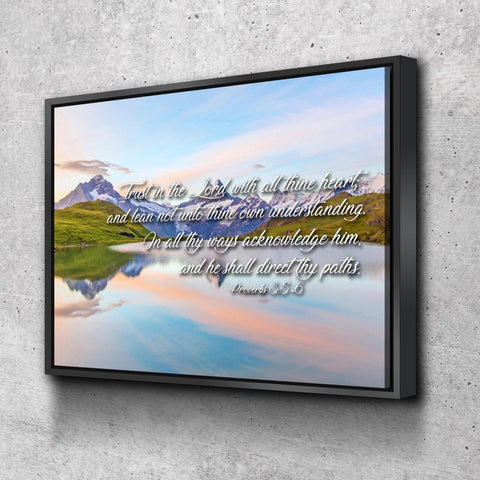 Proverbs 3:5-6 #14 KJV 'Trust in the Lord' Christian Scripture Wall Art Canvas