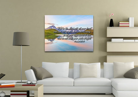 Image of Proverbs 3:5-6 #14 NIV Trust in the Lord Bible Verse Canvas Wall Art