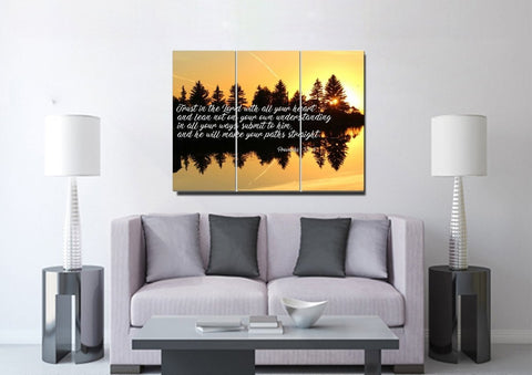 Proverbs 3:5-6 #16 NIV Trust in the Lord Bible Verse Canvas Wall Art