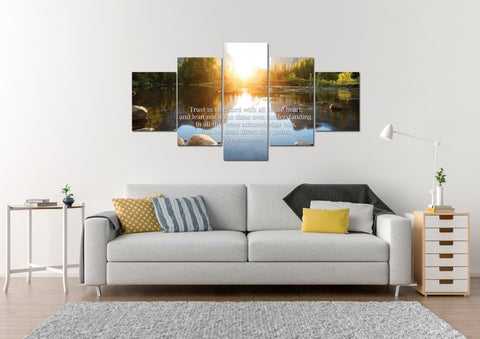 Image of Proverbs 3:5-6 #17b KJV [BLOCK LETTERING Font] Scripture Bible Verse Wall Art Canvas