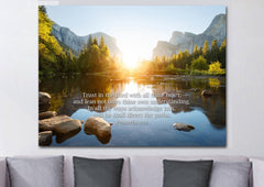 Proverbs 3:5-6 #17b KJV [BLOCK LETTERING Font] Scripture Bible Verse Wall Art Canvas