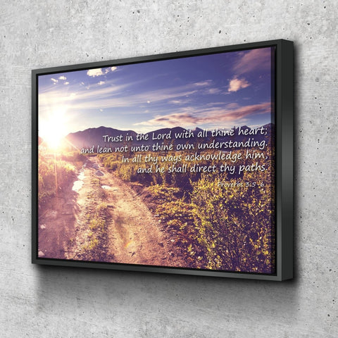 Image of Proverbs 3:5-6 #20 'Trust in the Lord with all Thine Heart' Christian Scripture Wall Art Canvas