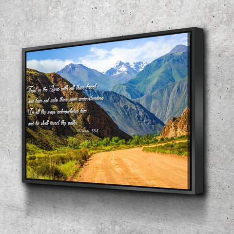 Proverbs 3:5-6 #21 'Trust in the Lord with all Thine Heart' Christian Scripture Wall Art Canvas